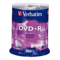 Verbatim DVD+R 16x 4.7GB/120 Minute Disc 100-Pack Spindle