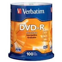 Verbatim DVD-R 16x 4.7GB/120 Minute Disc 100-Pack Spindle