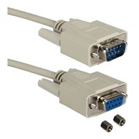 QVS DB-9 Serial Male Adapter Cable to DB-9 Serial Female Adapter Cable 25 Ft. - Beige