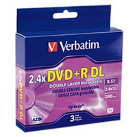 Verbatim DVD+R DL 2.4x 8.5GB/240 Minute Disc 3-Pack with Jewel Case
