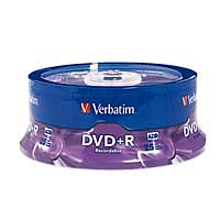 Verbatim DVD+R 16x 4.7GB/120 Minute Disc 25-Pack Spindle