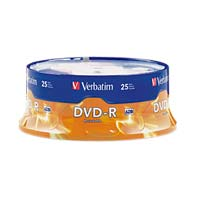 Verbatim DVD-R 16x 4.7GB/120 Minute Disc 25-Pack Spindle