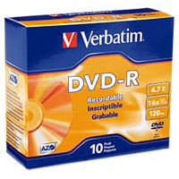 Verbatim DVD-R 16x 4.7GB/120 Minute Disc 10-Pack with Slim Jewel Case