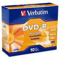 Verbatim DVD-R 16x 4.7GB/120 Minute Disc 10-Pack with Slim Jewel Case