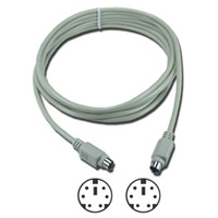 QVS PS/2 Male to PS/2 Male Keyboard / Mouse Cable 10 ft. - Beige