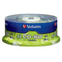 Verbatim CD-RW 4x 700MB/80 Minute Disc 25-Pack Spindle