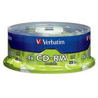 Verbatim CD-RW 4x 700MB/80 Minute Disc 25-Pack Spindle