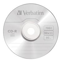 Verbatim CD-R 52x 700MB/80 Minute Disc 100-Pack Spindle
