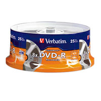 Verbatim DigitalMovie DVD-R 8x 4.7GB/120 Minute Disc 25-Pack Spindle