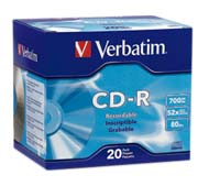 Verbatim DataLife Plus CD-R 52x 700MB/80 Minute Disc 20-Pack with Slim Jewel Case