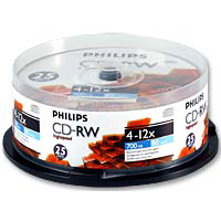 Philips CD-RW 12x 700MB/80 Minute Disc 25 Pack Spindle