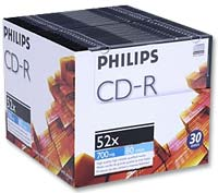 Philips CD-R 52x 700MB/80 Minute Disc 30-Pack with Slim Jewel Case