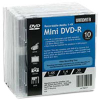 UME Mini DVD-R 4x 1.4GB/30 Minute Disc 10-Pack with Jewel Case