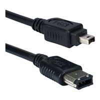 QVS FireWire 400 (6-Pin) Male to FireWire 400 (4-Pin) Male Cable 10 ft. - Black