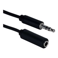 QVS 3.5mm Male to 3.5mm Female Mini-Stereo M/F Speaker Extension Cable 25 ft. - Black