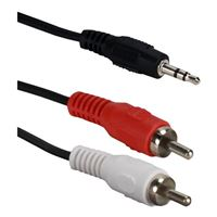 QVS 3.5mm Male to Dual RCA Male Speaker Cable 12 ft. - Black