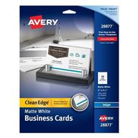 Avery White Matte Coated Clean Edge Ink Jet Business Cards