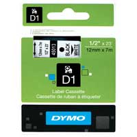 "Dymo 45013 D1 Label 1/2"" (12 mm) Plastic - Black Print on White"