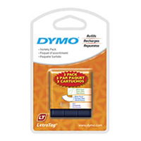 "Dymo 3-Pack Letratag Tape, White Paper, White Plastic, and Clear Plastic,  1/2""X13'"