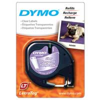 Dymo Letra Tag Clear Plastic Labels