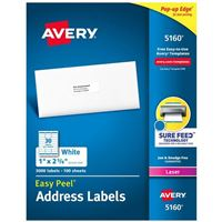 Avery 5160 Laser White Address Labels