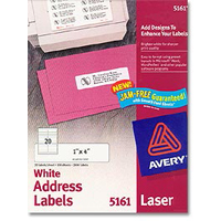 Avery 5161 Laser White Address and Shipping Labels