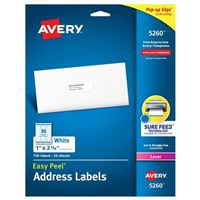 Avery 5260 Laser White Address and Shipping Labels