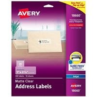 Avery 18660 Clear Inkjet Mailing Labels