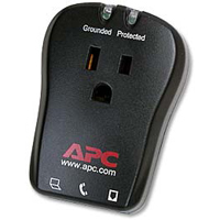APC 1 Outlet Wall Surge Protector 320 Joules with Phone/Fax Protection - Black