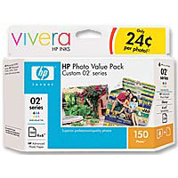 HP 02 Series Cartridge (Black, Magenta, Cyan, Yellow, Light Cyan and Light Magenta) & 150-Sheet Photo Value Pack (Q7964AN)