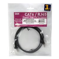 QVS CAT 6 Black Snagless Network Cable 25 Foot