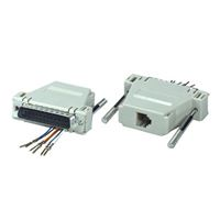 QVS DB25 Male to RJ12 Female Serial/Terminal Modular Adaptor