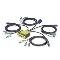 IOGear MiniView Micro 4 Port Audio KVM Switch with Built-In Cables