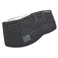 Adesso Tru-Form Pro - Contoured Ergonomic Keyboard with Built-In Touchpad and Hot Keys - PS/2