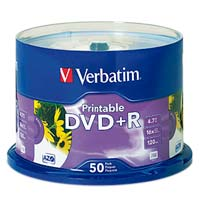 Verbatim Printable DVD+R 16x 4.7GB/120 Minute Disc 50-Pack Spindle