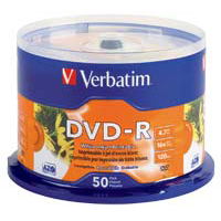 Verbatim Printable DVD-R 16x 4.7GB/120 Minute Disc 50-Pack Spindle