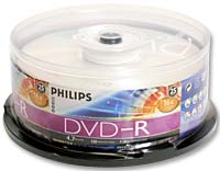 Philips DVD-R 16x 4.7GB/120 Minute Disc 25-Pack Spindle