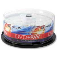 Philips DVD+RW 4x 4.7GB/120 Minute Disc 25-Pack Spindle
