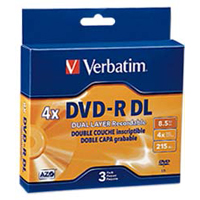 Verbatim DVD-R DL 4x 8.5GB/240 Minute Disc 3-Pack
