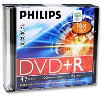 Philips DVD+R 16x 4.7GB/120 Minute Disc 5-Pack