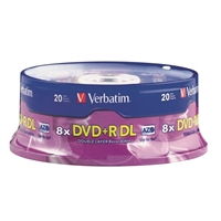 Verbatim DVD+R DL 2.4x 8.5GB/240 Minute Disc 20-Pack Spindle