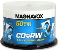 Magnavox CD-RW 12x 700MB/80 Minute Discs 50-Pack Spindle