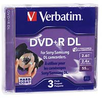 Verbatim Mini DVD+R DL 2.4x 2.6GB/55 Minute Disc 3-Pack with Jewel Cases