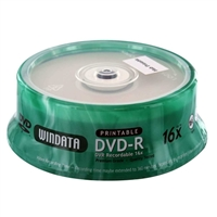 Windata Hub Printable DVD-R 16x 4.7GB/120 Minute Disc 25-Pack Spindle