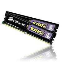 Corsair TwinX XMS2 2GB DDR2-800 (PC-6400) CL5 Dual Channel Desktop Memory Kit (Two 1GB Memory Modules)
