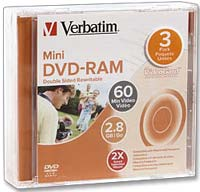 Verbatim Mini DVD-RAM Double Sided 2x 2.8GB/60 Minute Disc 3-Pack