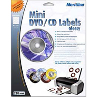 Meritline Products High Glossy Inkjet White Mini CD Label