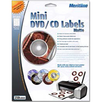 Meritline Products 176-020 Laser / Inkjet Matte White Mini CD Label