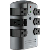 Belkin 6 Outlet Wall Surge Protector 1080 Joules - Black