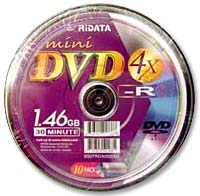 Ridata Mini DVD-R 4x 1.4GB/30 Minute Disc 10-Pack Spindle